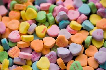 bunch of heart shaped assorted color tablets